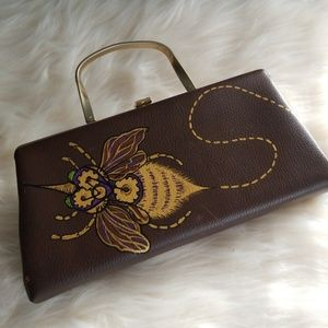 Handbags - Handpainted Bee Baguette Handbag